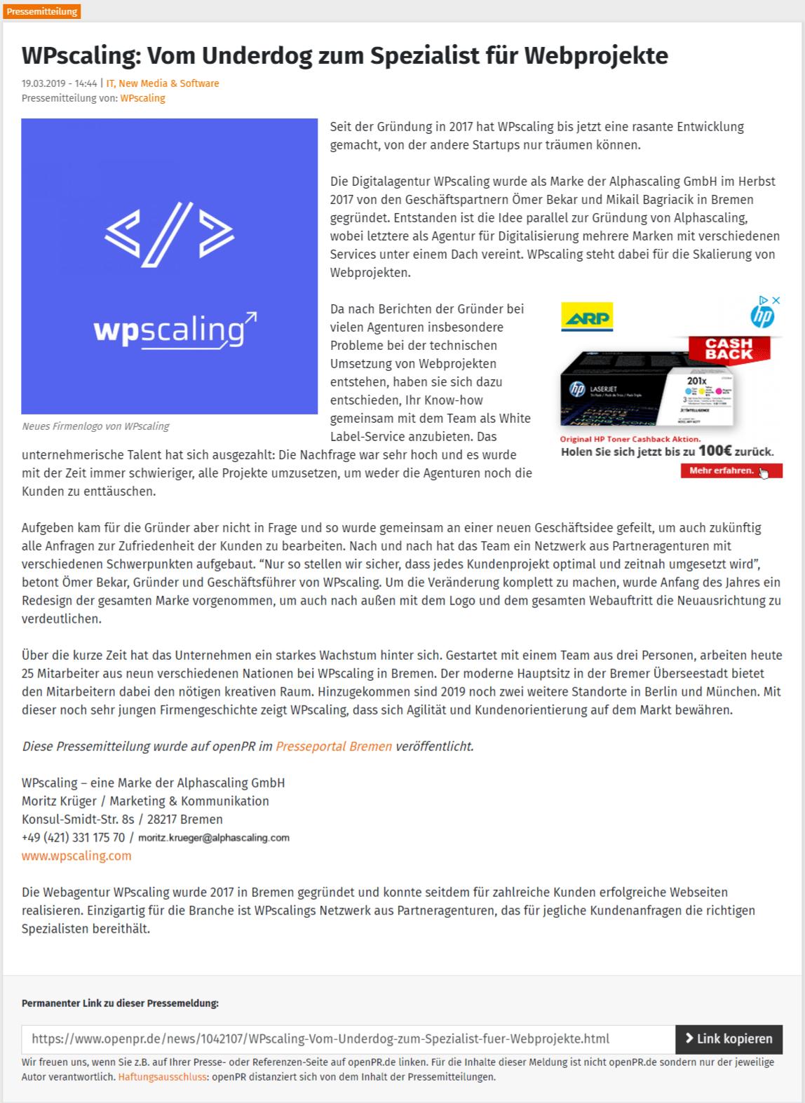 WPscaling Presse